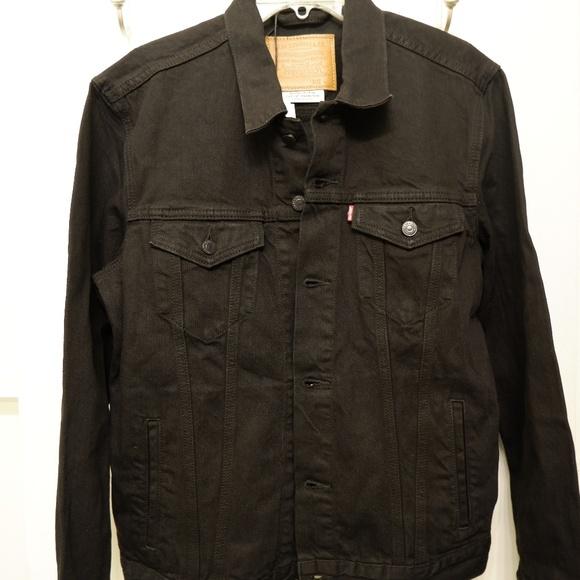 96f08010d67a3 Levi's Jackets & Coats | Levi Trucker Denim Jacket Berk Black Nwt ...